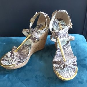 Mossimo faux snake skin and cork heel wedges